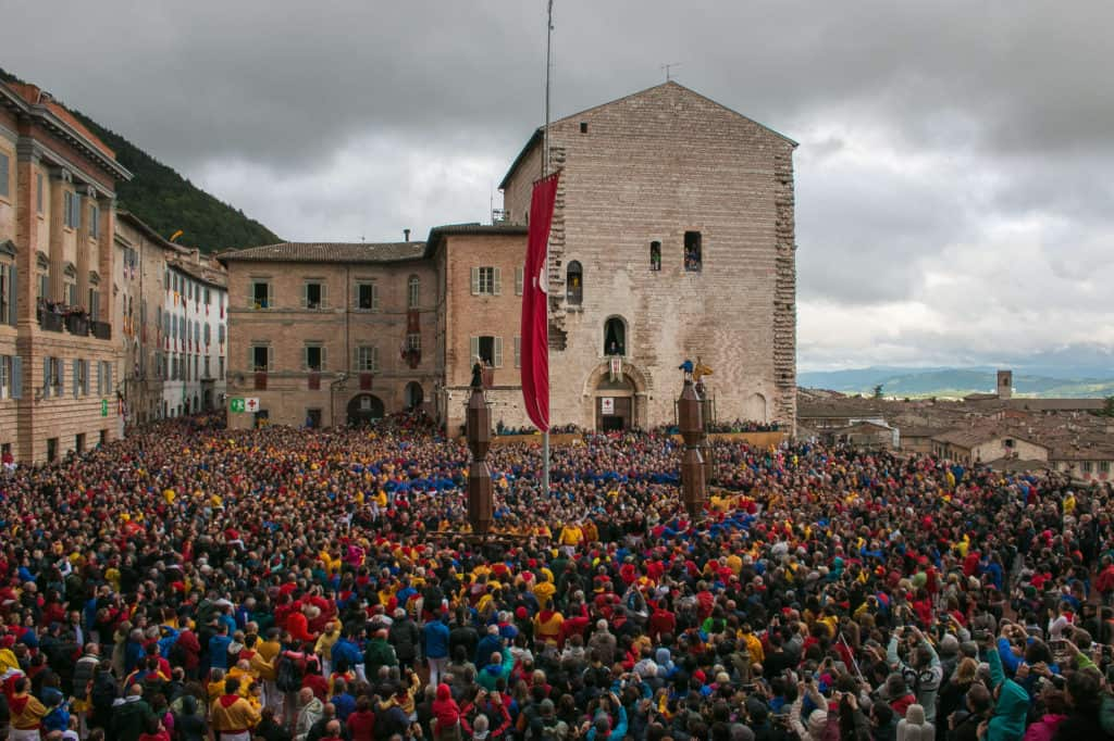 The main piazza of Gubbio, with the ceri.