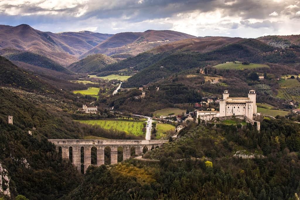 Spoleto, Umbria from above.