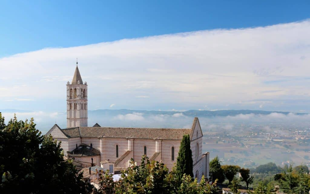 Restaurants of Assisi. The Basilica of Saint Clare or Santa Chiara